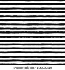 Striped pattern. Seamless irregular hand drawn background. Grunge painted lines. Distress texture. Vector graphic print.