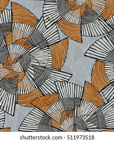 Striped pinwheels big gray and orange.Hand drawn with ink seamless background. Creative handmade repainting design for fabric or textile. Geometric pattern with striped circular shapes.