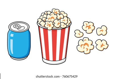 Striped popcorn bucket box and blue soda soft drink or cola can isolated