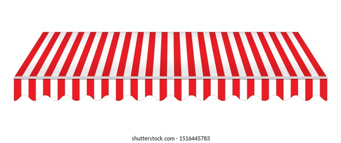 Striped red awning isolated on white background, realistic vector mockup. Canopy for restaurant, cafe, hotel or store. Tent roof, template for design.