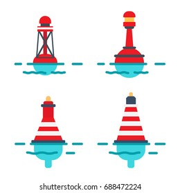 Striped red plastic buoys with lighter on top in blue water isolated flat vector illustrations set on white background. Equipment for safety in sea.