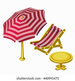 Striped red umbrella and sunbed with table. Vector illustration.