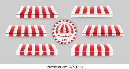 Striped, red and white awnings set. Vector illustration of six different awning templates, good design elements for shops, stores, web, advertisement, decoration, backgrounds.