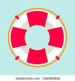 Striped red and white lifebuoy with rope around. Equipment for safety in water. Standard inflatable ring, lifeguard tool isolated vector illustration.