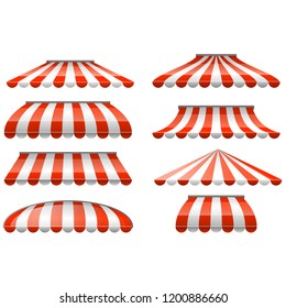 Striped red and white sunshade awning - cafe and shop awnings, outdoor tent sunshade with scallop