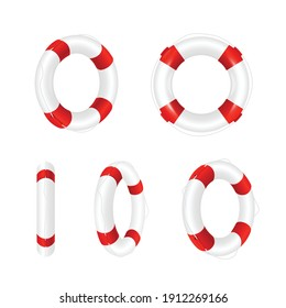 Striped rings of rescue lifebuoy, realistic vector illustration isolated on white background. Template of lifebuoy of survival on water and life saving equipment.