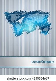 Striped and scribbled blue business brochure design with world map