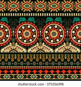 Striped seamless pattern. Ethnic tribal border. Boho folk Navajo frames.
