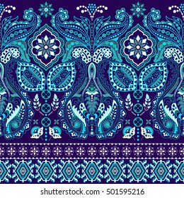 Striped seamless pattern. Floral wallpaper. Colorful ornamental border. Indian ornament