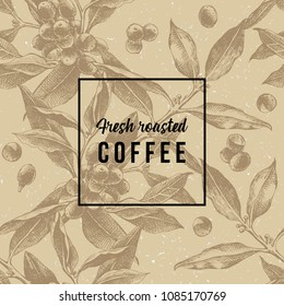 Striped seamless pattern with hand drawn coffee branches. Vector illustration