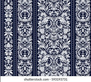 Striped seamless pattern on baroque style. Seamless floral wallpaper. Damask background. Vector illustration. White on dark blue background.