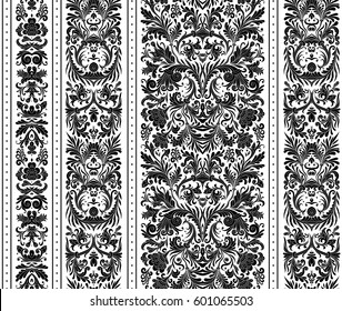 Striped seamless pattern on baroque style. Seamless floral wallpaper. Damask background. Vector illustration. Black on white.