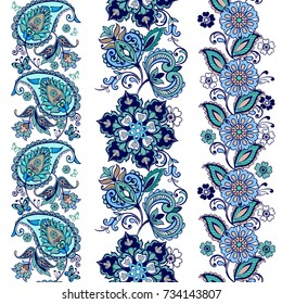 Striped seamless pattern with paisley. Floral wallpaper. Decorative ornament for fabric, textile, wrapping paper. Traditional oriental seamless paisley pattern.