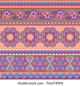 Striped seamless pattern with paisley in pastel colors. Decorative ornament for fabric, textile, wrapping paper.