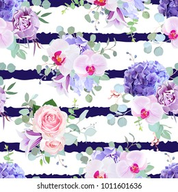 Striped seamless vector design pattern arranged from pink rose, orchid, violet carnation, purple hydrangea, iris, bell flower, eucalyptus greenery.Beautiful navy blue print.All elements are isolated.