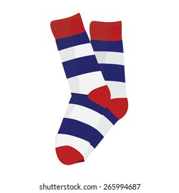 Striped socks blue, red and white, woman socks, man socks, socks vector isolated
