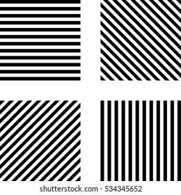 Striped square pattern horizontal stripes, vertical stripes. diagonal stripes in square. vector template set.