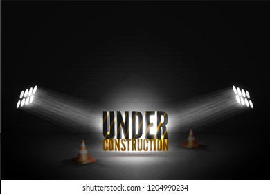 Striped text standing near two cones in a bright beam of limelights on a brick wall grunge black background. Vector illustration of web error 404: page not found/ coming soon in spotlights glow.