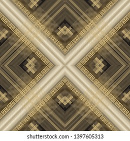 Striped textured 3d greek vector seamless pattern. Abstract geometric modern lace background. Surface repeat gold texture. Ornate decorative design. Ornamental rhombus greek key meander. Rich ornament