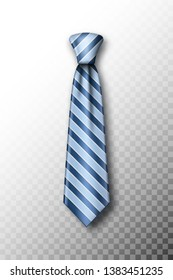 Striped tie with soft shadow on a fading white background. Template for Father's Day greeting card with blue striped necktie. Realistic vector illustration