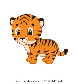 Striped tiger. Cute character. Colorful vector illustration. Cartoon style. Isolated on white background. Design element. Template for your design, books, stickers, cards, posters, clothes.