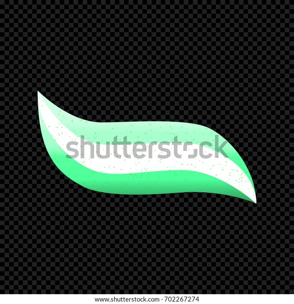 Striped Toothpaste Isolated on transparent dark Background. Vector Illustration of Toothpaste with green and white stripes and granules. Web icon.