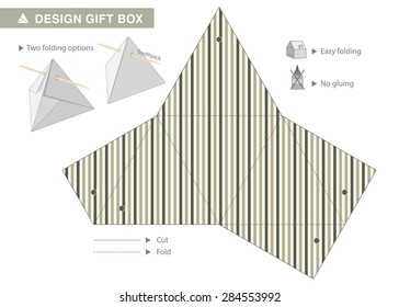 Striped Triangle Gift Box With Toothpick. The ideal packaging for small gifts such as chocolate praline. Vector Template