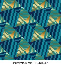 Striped triangles gold and blue luxury seamless pattern for background, wrapping paper, fabric, surface design. Stock vector surface design.