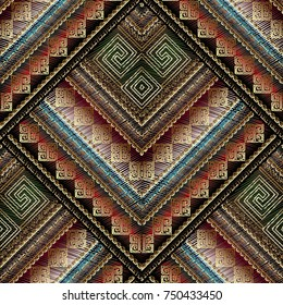 Striped tribal embroidery seamless pattern. Vector tapestry greek key meanders background. Ornate wallpapers design. Ethnic embroidered ornament. 3d ornamental tapestry meander frames, zigzag, stripes