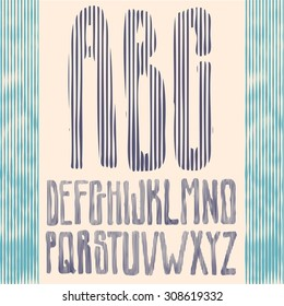 striped type font, vintage typography vector
