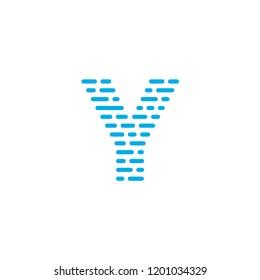 Striped Vector Logo Letter Y. Y Letter Design Vector