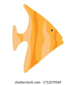 Striped yellow fish in flat style. Vectra clip art, sticker, nautical theme. Design underwater world and aquariums. Cute funny fish on a white background in cartoon style.