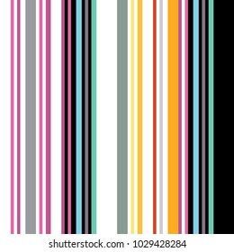 Stripes of different colors and widths. Between colorful stripes there are white and black stripes. Design is suitable for printing on textile or on paper.
