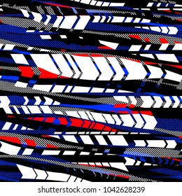 Stripes, dots and arrows. Black, red, blue, white colors. Seamless texture. Abstract vector background for web page, banners backdrop, fabric, home decor, wrapping, sports and boys design