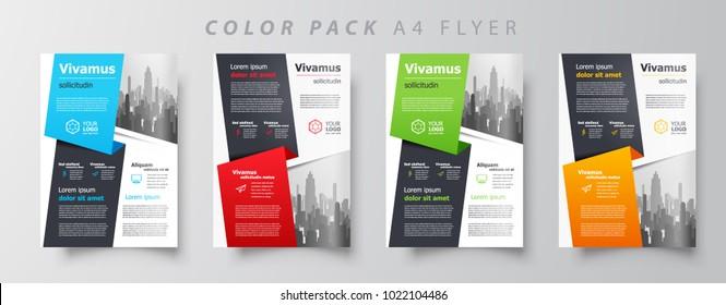 Stripes Flyer brochure design template set color, creative leaflet size A4, trend cover