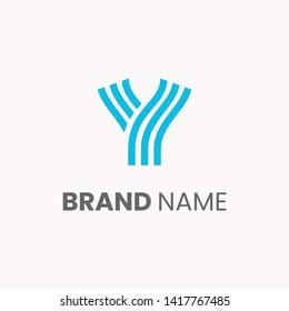 Stripes modern letter y logo template