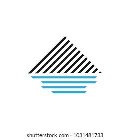 stripes mountain and sea logo vector