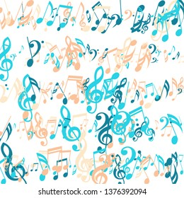 Stripes of Musical Notes. Abstract Background with Notes, Bass and Treble Clefs. Vector Element for Musical Poster, Banner, Advertising, Card. Minimalistic Simple Background.