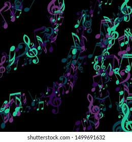 Stripes of Musical Notes, Bass and Treble Clefs. Vector Background.