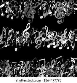 Stripes of Musical Notes. Creative Background with Notes, Bass and Treble Clefs. Vector Element for Musical Poster, Banner, Advertising, Card. Minimalistic Simple Background.