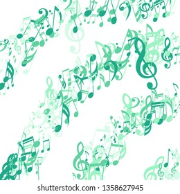 Stripes of Musical Notes. Trendy Background with Notes, Bass and Treble Clefs. Vector Element for Musical Poster, Banner, Advertising, Card. Minimalistic Simple Background.