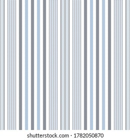 Stripes pattern in blue and white. Seamless vertical lines for dress, skirt, trousers, bed sheet, or other modern spring, summer, autumn textile print.