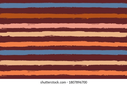 Stripes pattern. Seamless vector striped background. Red autumn paint brush strokes. Bright fall graphic stripes, paintbrush line print. texture lines backdrop