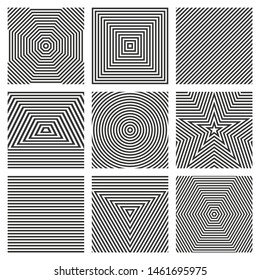 Stripes patterns. Set of abstract geometric backgrounds. Concentric figures with alternating black and white stripes. Triangles, squares, circles, polygons, stars and lines. Repeating patterns.