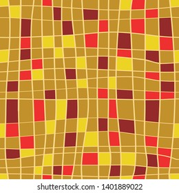 Stripes seamless pattern. Vector illustration of hand drawn lines with colorful squares on golden background
