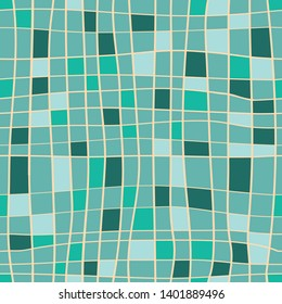 Stripes seamless pattern. Vector illustration of hand drawn lines with turquoise and light green squares on green background