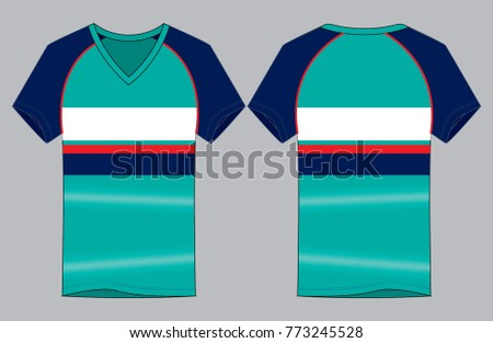 fd7ce2a04138 Stripes V Neck Shirt Design Turquoise Navy Stock Vector (Royalty ...