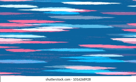 Stripes with Watercolor Grunge Brush Style Effect. Hand Drawn Fashion Seamless Pattern. Paint Watercolor Style Stripes. Fabric, Fashion Print Design Pattern.