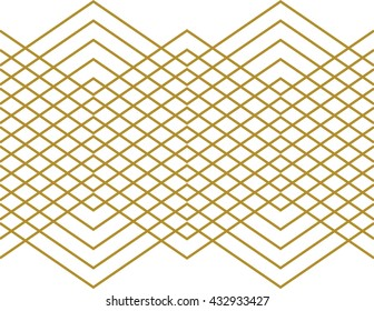 Stripes and zig zag Aztec pattern and wallpaper design in gold on a white background. Seamless vector texture backdrop and wrapping paper.