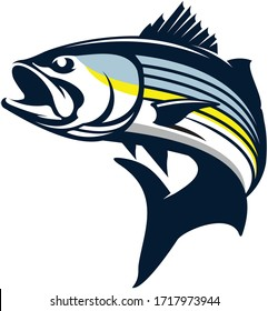 Stripped Bass Logo, A Unique Clean & Eye Catching Vector of Stripped Bass fish Jumping Out of the Water. Great Vector to Use for Decals, Logo, Shirts,  Etc, to make your fishing Activity look Cool.